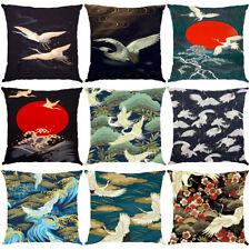 Crane Pillowcase Throw Sofa Couch Cushion Animal Print Pillow Cover Home Decor