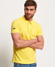 Nueva camisa para hombre Vintage Camisa Polo Piqué destruidas Chello Amarillo