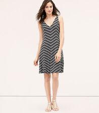 Brand New Ann Taylor Loft Striped V-Neck Flare Dress Color Black #354129