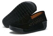 New Womens Platform Shoes Round Mid Heel Tassel Hollow Slip on Rubber Comfort