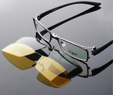 2pcs Polarized Magic clip-on Sunglasses Full- Rim Eyeglasses Frames Driving 3in1