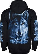 Mens Night Wolf Printed Fleece Hooded Jacket