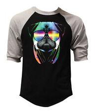 New Men's DJ Pug Black Baseball Raglan T Shirt Cool Party Sunglasses Rave Tee