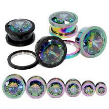 Colorful Zircon Grind Steel Screw Ear Plugs Tunnels Gauges Body Jewelry Piercing