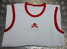 Genuine British Military Issue PTI White Vest With Red Trim - New