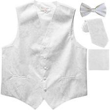 New Men's Paisley Tuxedo Vest Waistcoat & necktie & Bow tie & Hankie white prom