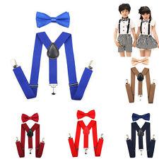 New Boys Suspenders & Bow Tie Set Fits 1-10 Years Old Kids Boys Baby Adjustable