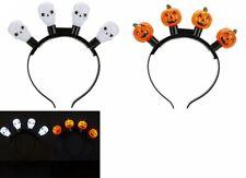 LIGHT UP Flashing Skull Pumpkin Headband Halloween Party Fancy Dress Up Fun LED