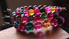 "Charming 6/8/10/12mm Multicolor Tourmaline Gemstone Round Beads Bracelet 7.5""AAA"