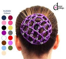 Girl's DIAMANTÉ Crochet Hair Bun Net Cover Ballet Dance Gymnastics Equestrian