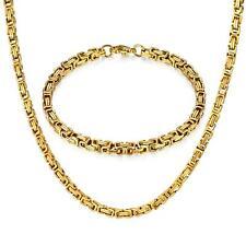 Set Königskette Armband 4mm Edelstahl 750er Gold 18K vergoldet silber gold S3158