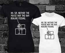 No señor ni el ratón señoras T Shirt Pc Soporte Técnico Computadora Gamer Geek Top