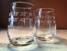 Custom GPS Coordinates - Engraved Stemless Wine Glasses