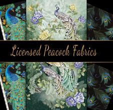 Stunning Metallic Peacocks 100% Cotton Fabric, Fat 1/4, 1/2 Metre, Metre