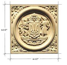 """Ukraine Coat of Arms Hardwood Square Rosette/Plaque 6-1/2"""" x 6-1/2"""""""