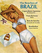 Beaches Brazil Copacabana Ipanema Praia do Forte 16X20 Vintage Poster FREE SH