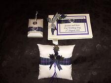 Pride of Scotland + 21 Tartans Thistle Wedding Guest Book Ring Cushion Pen