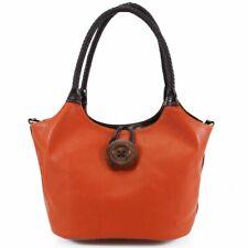 Wood Button Stitch Detail Braid Handles Ladies Women Shoulder Girls Side Bags