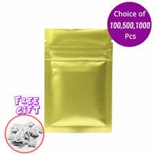 2.25*3.5in Glossy Mylar Foil Gold Ziplock Bag w/ Silica Gel Desiccant B01
