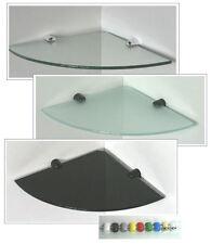 Glasregal Eckregal 25x25/6 klar schwarz satiniert / Clip REGGI Nylon in 6 Farben
