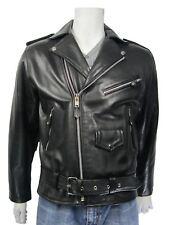 OSX New Men Brown  Cowhide Black Leather Zip Jacket Bomber Rock Bike