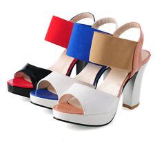 Women Peep Toe Platform Block High Heels Colorblock Ankle Strap Slingbacks Shoes
