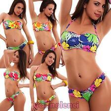 Bikini donna costume da bagno mare palme fascia FIORI due pezzi nuovo 80590