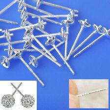 20PCS Ear Pin Pairs 925 Sterling Silver Stud Earrings Findings Supplies Beads