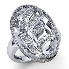 Real 4carat Round Cut Diamond Ladies Leaf Vintage Engagement Ring 18K Gold