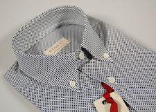 Camicia maniche corte collo button down con taschino Pancaldi micro disegno Blu