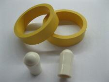 "2 YELLOW PREMIUM FLIPPER RUBBER RINGS 1-1/2"" x 1/2"" w/ 2 FREE White Tips"