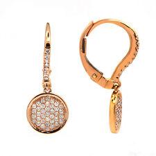 14K Gold White Diamond Pave Circle Drop Earrings