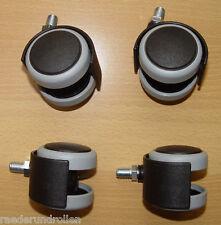 4 x Möbelrolle 50mm Hartbodenrolle Gummi Gewinde M10x14