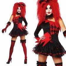 Erwachsene Jesterina Kostüm Damen Halloween Hofnarr Clown Kostüm Outfit Neu Rot