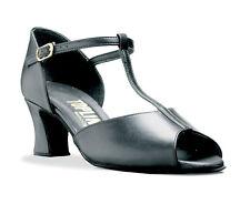"""Señoras de cuero negro social América Zapatos De Baile 2 """"del talón collarín Lynne"""