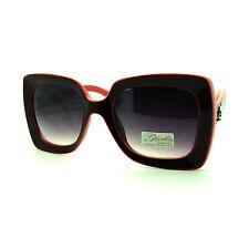 Giselle Womens Thick Plastic Frame Rectangular 20s Mod Diva Fashion Sunglasses