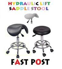 Stool Hydraulic GAS Lift Bar Chair Salon Massage Spa Nail White Black Saddle