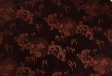"28"" CHINA RETRO. DAMASK JACQUARD BROCADE FABRIC:  DRAGON & CHARIOT MANDALA"