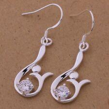 Edle Ohrringe mit schön eingesetzten Kristall Hänger  Silber pl.  WE-490