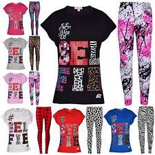 Girls Tops Kids Selfie Print Trendy T Shirt Top & Fashion Legging Set 7-13 Years