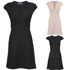 Women's Plunge V Neck Cap Sleeve Ladies  Glitter Textured Party Bodycon Dress