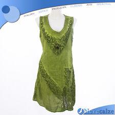 Abito donna estate etnico in fresco lino  vestito smanicato con pizzo  DEABI011