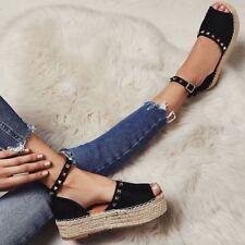 Black Womens Summer Flatform Espadrille Sandals Studded Wedge Shoes Rock Size UK
