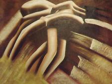 Marrón Pintura al Óleo Abstracta cuerpos figuras enorme lienzo Moderno Sexy