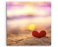 Künstlerische Fotografie – Herz am Strand auf Leinwand