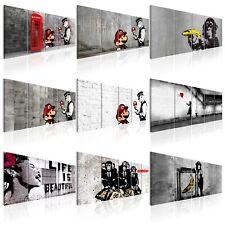 BANKSY STREET ART Wandbilder xxl Vlies Leinwand Bilder Mario & Cop i-C-0104-b-m