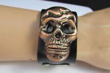 New Men Black Bracelet Faux Leather Silver Skull Skeleton Face Quarts Watch Punk