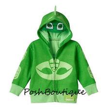 NWT Disney PJ Masks Gekko Green Boy Girl Zip Costume Hoodie Jacket Mask 3T 4T 5T