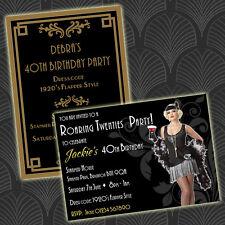 Personalised ROARING TWENTIES / 1920s ART DECO STYLE Birthday Party Invitations