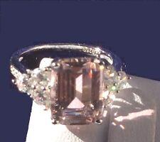 Morganite Ring: 7ct Emerald Cut Created Morganite 925 Silver Engagement Ring